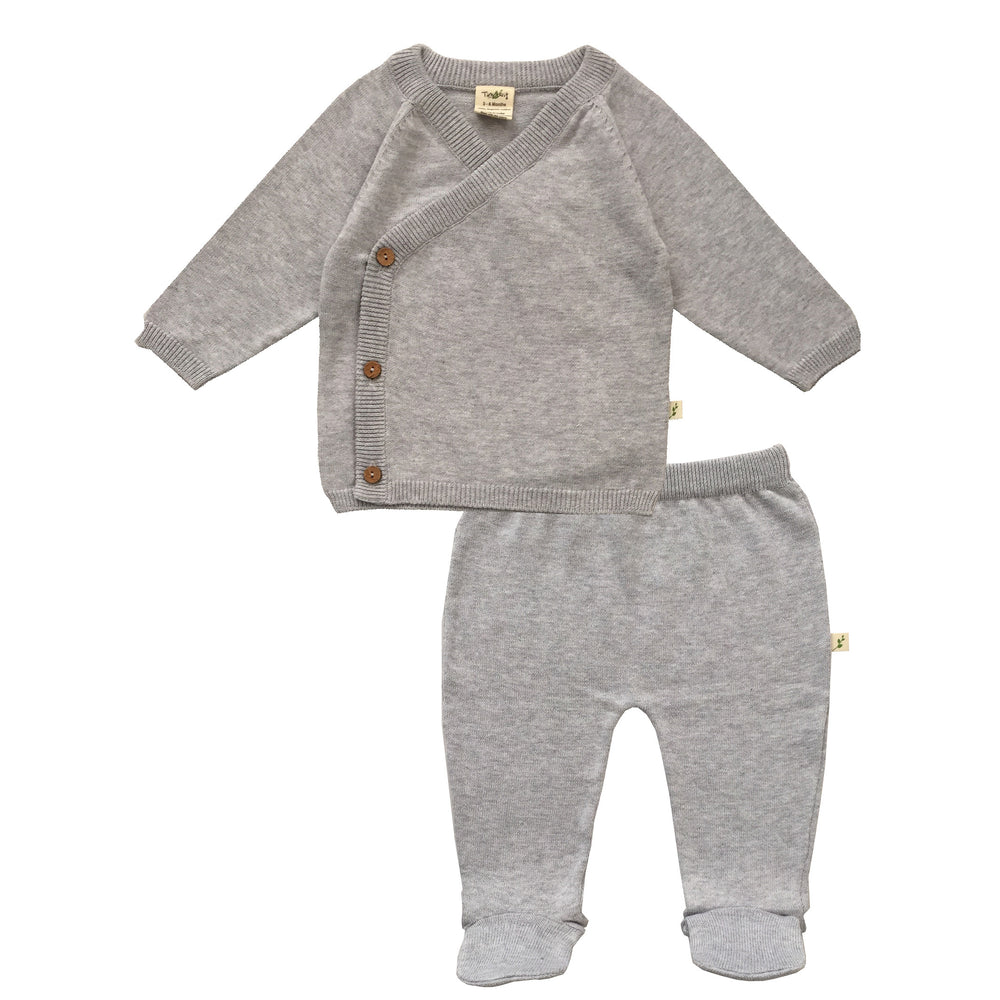 Load image into Gallery viewer, Grey Melange Organic Knitted Kimono Set