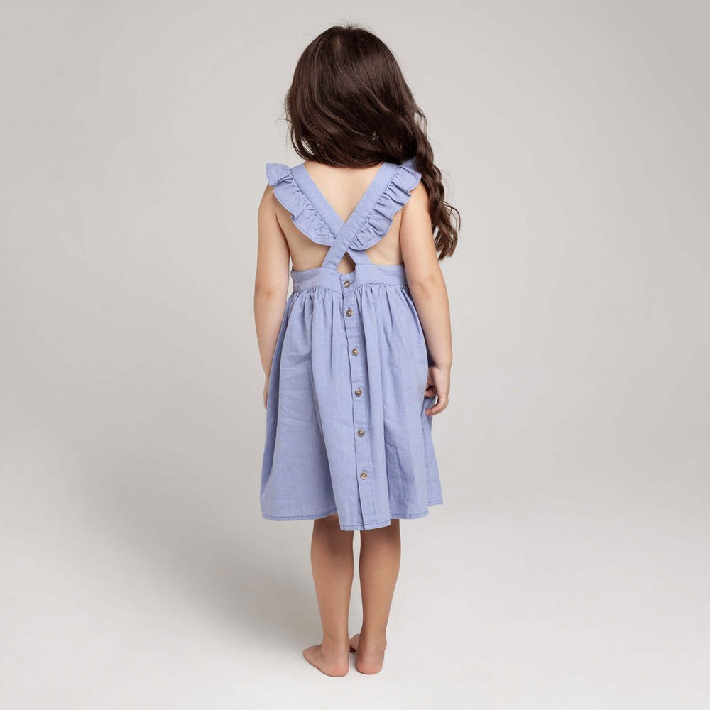 Load image into Gallery viewer, Frill Cross Straps Lined Dress Pacific Blue