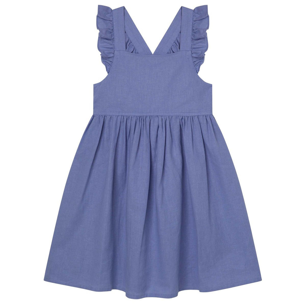 Frill Cross Straps Lined Dress Pacific Blue