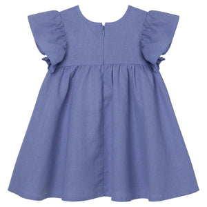 Frill Sleeve Linen Dress Pacific Blue