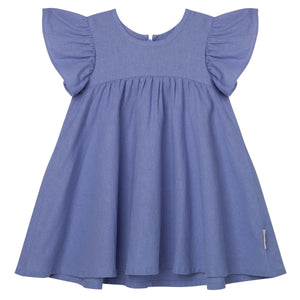 Load image into Gallery viewer, Frill Sleeve Linen Dress Pacific Blue