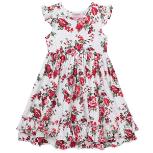 Pearl Floral S/S Swing Dress Red