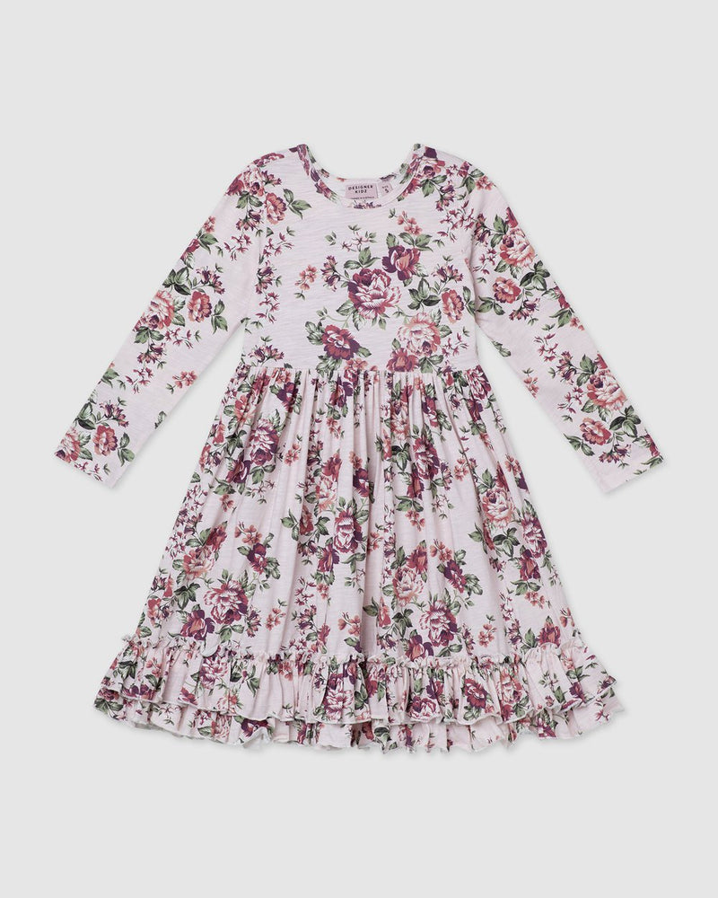 Load image into Gallery viewer, Pearl Floral Long Sleeve Swing Dress Pink