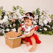 Load image into Gallery viewer, Pearl Floral S/S Red Petti Romper