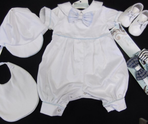 Pipo Boys Christening Rompers | White | 0000-0