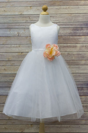 White Dress High Quality Dull Satin Bodice with Tulle Skirt