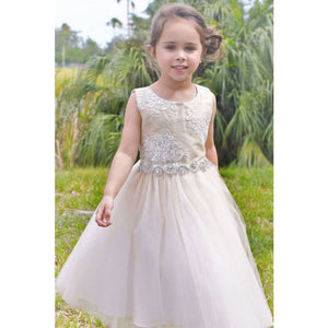Load image into Gallery viewer, Petite Adele Silk & Beaded Bodice Tulle Skirt Rhinestone Sash Formal Dress