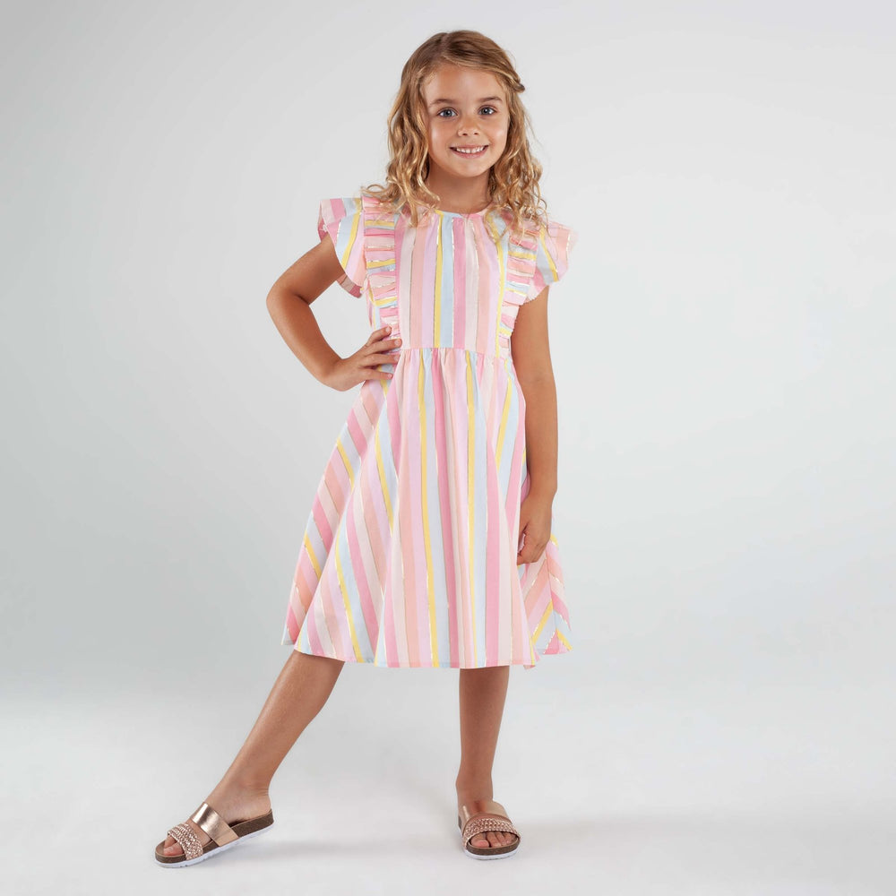 Frill Sleeve Lined Lurex Dress
