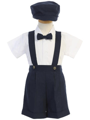 Lito Linen Short and Suspender Set Navy