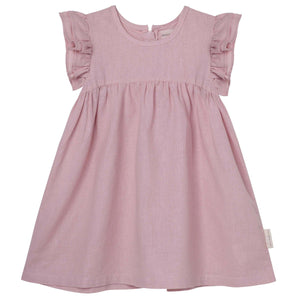 Frill Sleeve Dress Dusty Pink