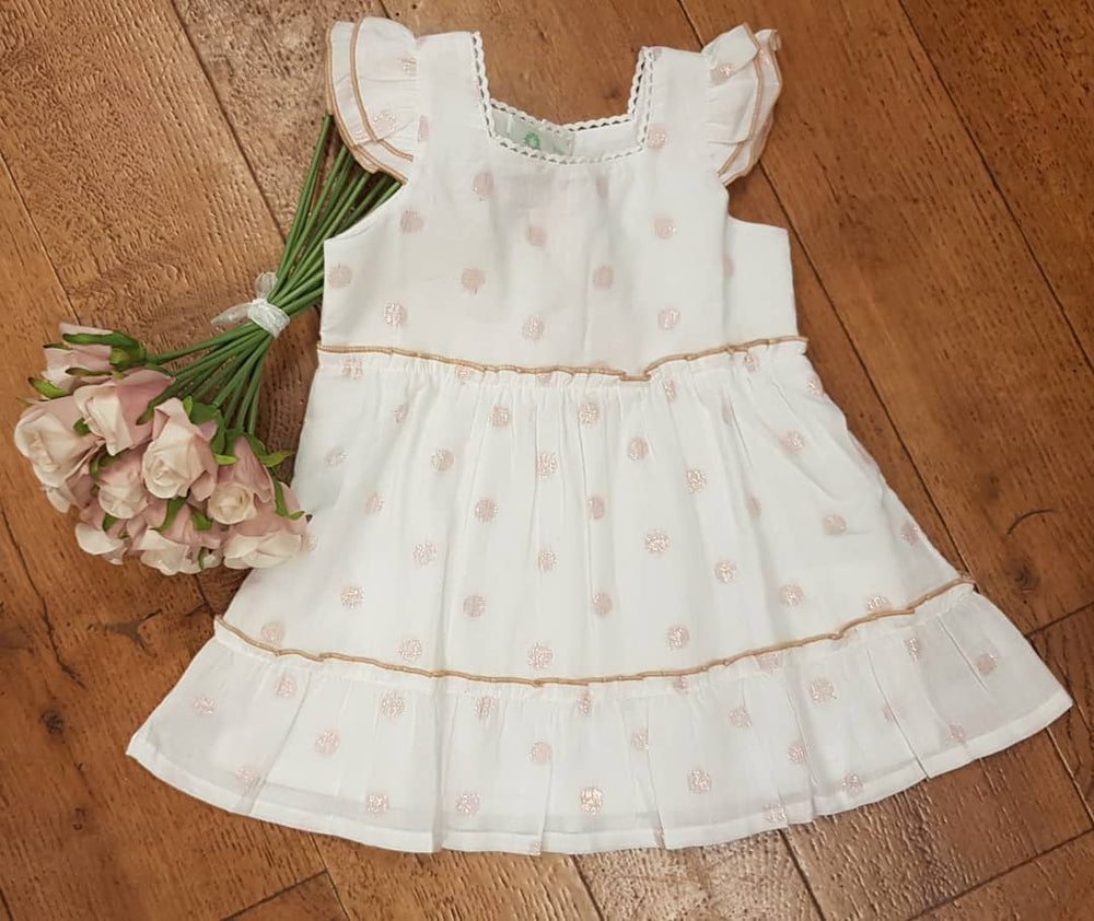 White and Pink Dobby Baby Frill Dress