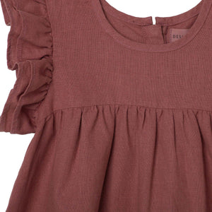 Frill Sleeve Dress Rosewood