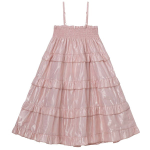 Load image into Gallery viewer, Lurex Shirred Dress Metallic Pink