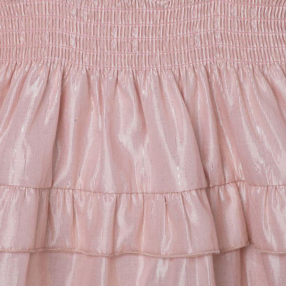 Lurex Shirred Dress Metallic Pink