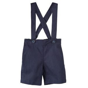 Load image into Gallery viewer, Toby Linen Suspender Shorts Navy
