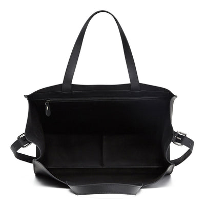 Inside of Harlequin Belle Downtown large leather women's bucket bag black
