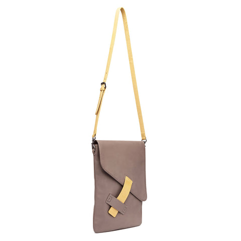 Harlequin Belle Dreambeliever Unisex Leather Satchel Taupe Sand