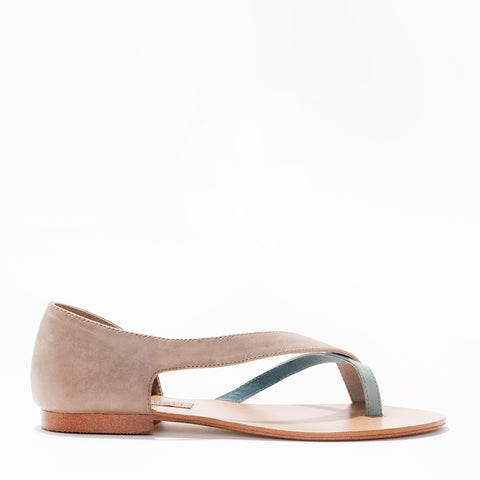 Harlequin Belle Elements Sandal Stone Duck Egg Blue Leather
