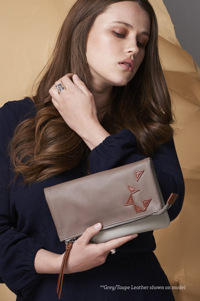 Triangle Foldover Clutch - Camel / Midnight Blue