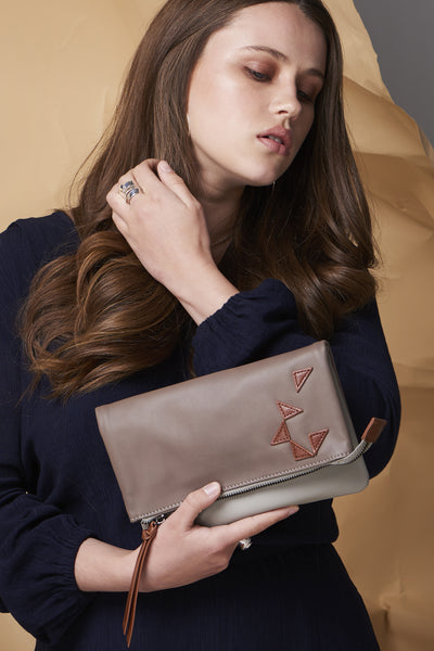 Triangle Foldover Clutch - Grey / Taupe