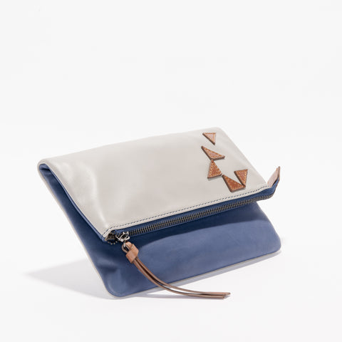 Harlequin Belle Triangle Foldover Clutch Purse Grey Midnight Blue Leather