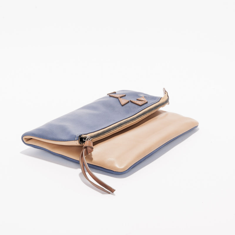 Harlequin Belle Triangle Foldover Clutch Purse Camel Midnight Blue Leather