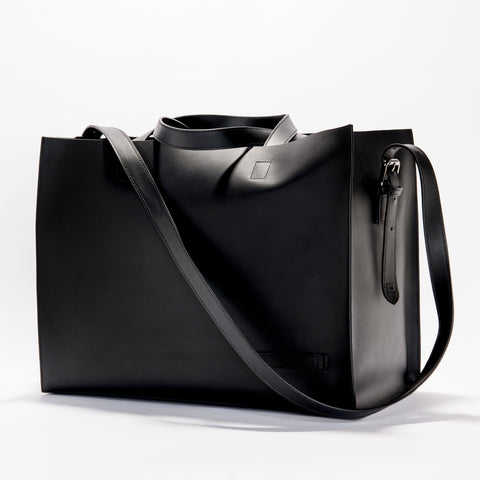 Harlequin Belle Downtown Leather Bucket Bag Black
