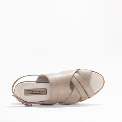 Harlequin Belle Tierra Sandal Tan Stone Leather