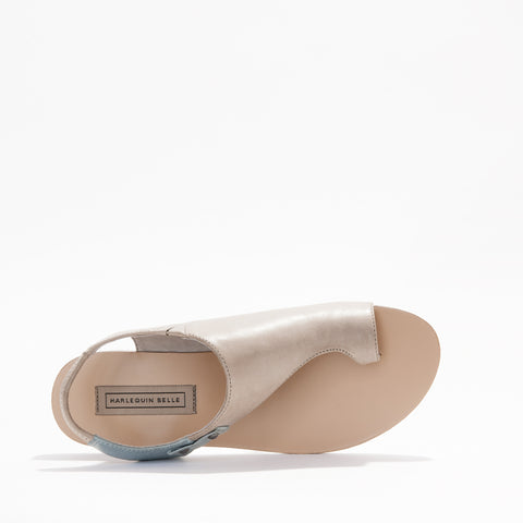 Harlequin Belle Origins Sandal Stone Duck Egg Blue Leather
