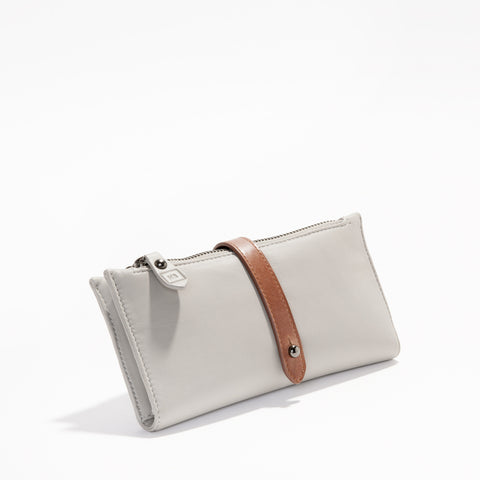 Harlequin Belle Trinity Wallet Purse Grey Tan Leather