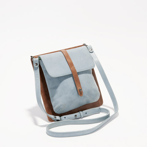 Harlequin Belle Elements Bag Duck Egg Blue Tan Leather