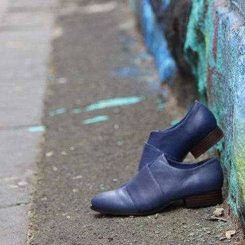 Harlequin Belle Dusk Low Heel Shoes Midnight Blue Leather Graffiti