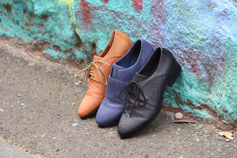Harlequin Belle Laneway Laceup Shoes Brogues Black Tan Midnight Blue Leather Graffiti