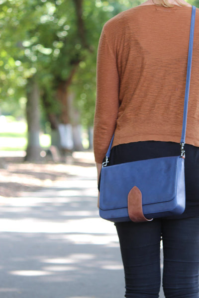 Cityscape Leather Crossover Bag Midnight Blue