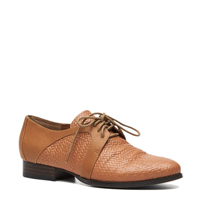 Harlequin Belle Laneway Laceup Shoes Brogues Tan Leather
