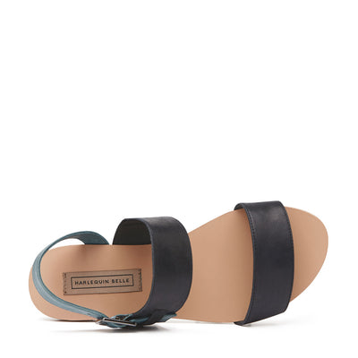 Harlequin Belle Roundabout Leather Sandal Black Denim