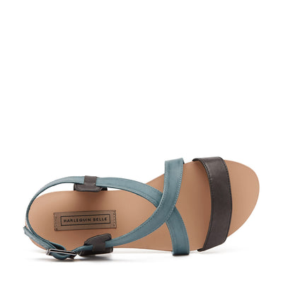 Harlequin Belle Crossover Leather Sandal Black Denim