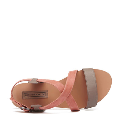 Harlequin Belle Crossover Leather Sandal Taupe Melon