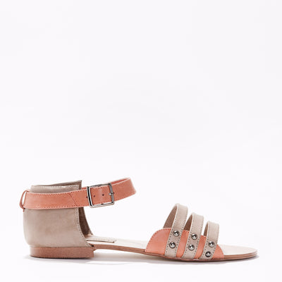 Harlequin Belle Trinity Sandal Stone Melon Leather