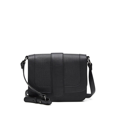front of black leather crossbody handbag