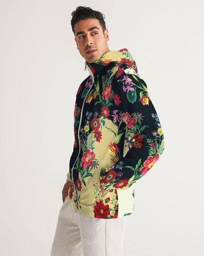 Blooming In The Morning Men's Windbreaker - Denim By Fred