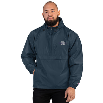 Embroidered Champion Packable Jacket - Denim By Fred