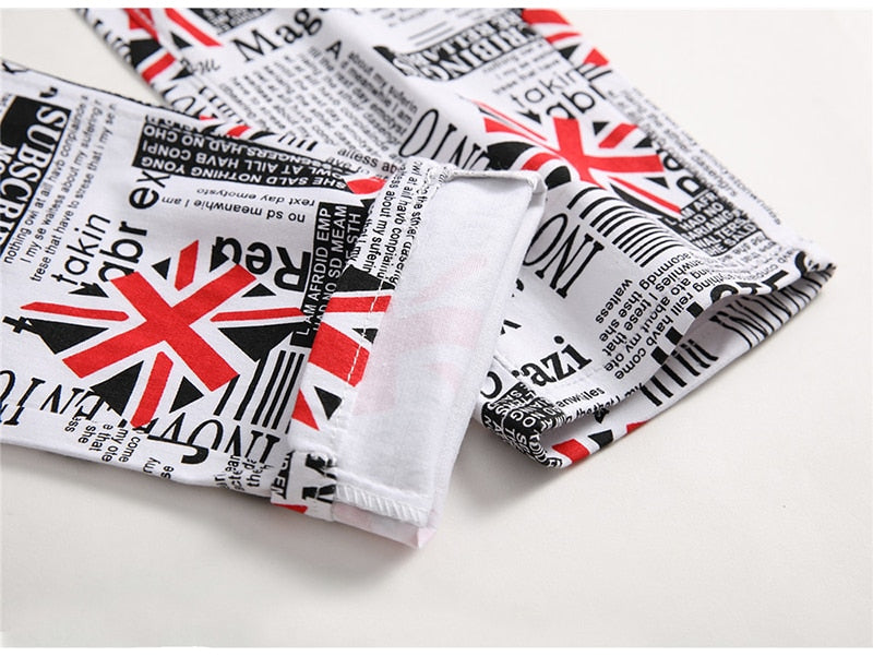 English Flag Printed Jeans