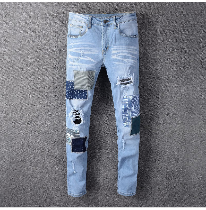 Blue Patchwork Ripped Denim Jeans