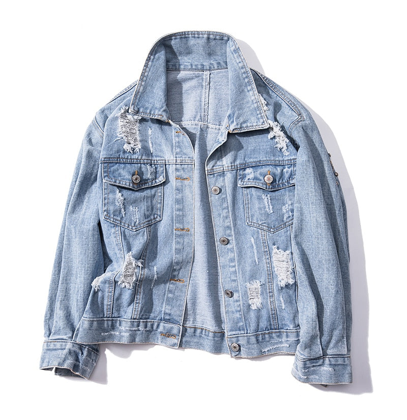 Women's Silver Beads Distressed Denim Jacket