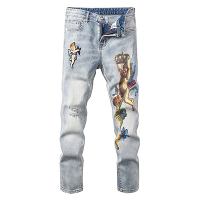 Men's Angel Crown Distressed Denim Jeans - Denim By Fred