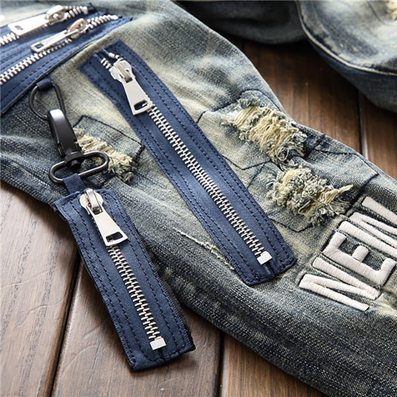 Zipper Patch Ripped Jeans