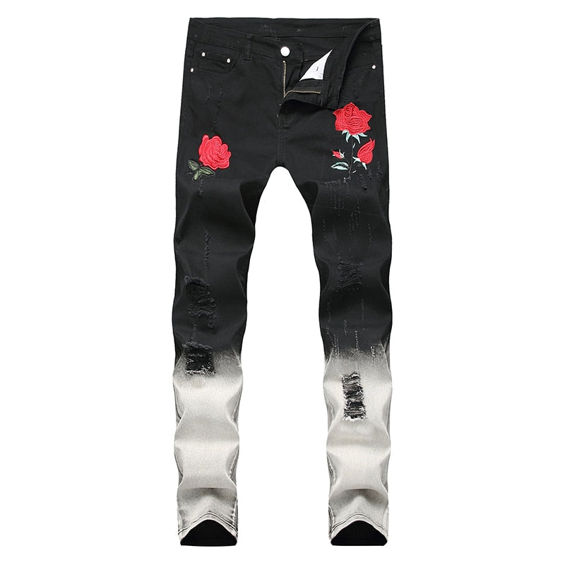 Rose Tie Dye Denim Jeans