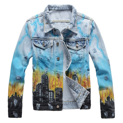 Dragon Flames Denim Jacket - Denim By Fred