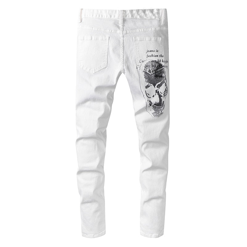 Men's Skull Printed White Ripped Jeans
